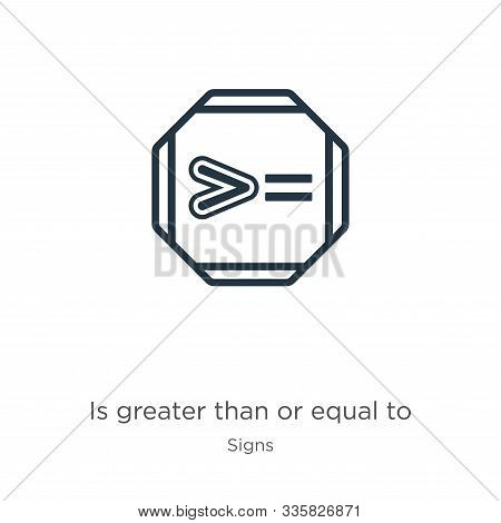 Is Greater Than Or Equal To Icon Vector. Trendy Flat Is Greater Than Or Equal To Icon From Signs Col