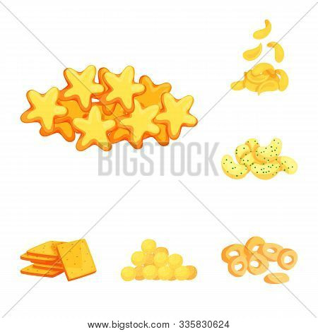 Vector Design Of Food And Crunchy Symbol. Collection Of Food And Flavor Stock Vector Illustration.