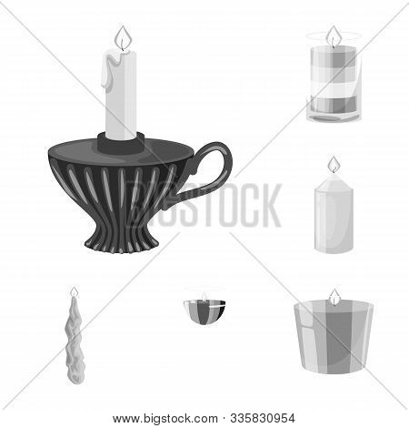 Vector Design Of Paraffin And Fire Icon. Collection Of Paraffin And Decoration Vector Icon For Stock