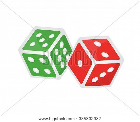 Two Gaming Dices Isometric Illustration. Cubes With Spots 3d Vector Drawing On White Background. Tab
