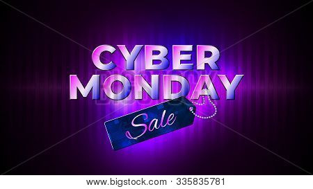 Cyber Monday Sale Flyer. Bright Cyber Monday Banner With Sale Price Tag. Special Offer Price Sign. G