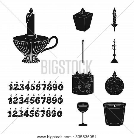 Vector Illustration Of Candlelight And Decoration Logo. Collection Of Candlelight And Wax Stock Vect