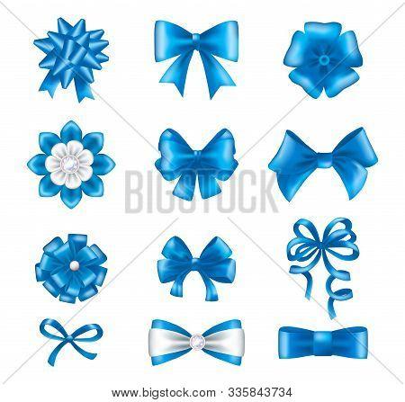 Blue Ribbon Bows Set. Silk Satin Gift Bows Realistic Vector