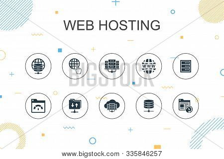 web hosting trendy Infographic template. Thin line design with Domain Name, Bandwidth, Database, internet icons poster