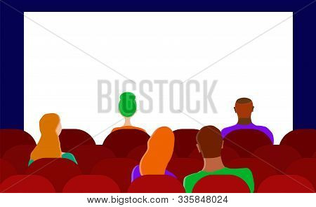 Spectators Are Sitting On The Seats In The Hall Of The Cinema. Copy Space. Vector. Illustration