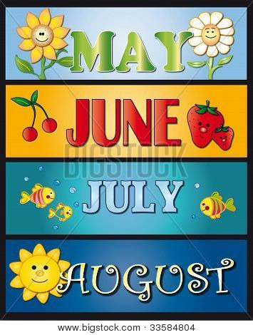 poster of illustration for month: may june july and august