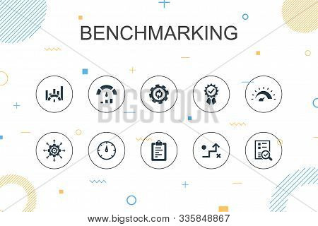 Benchmarking Trendy Infographic Template. Thin Line Design With Process, Management, Indicator Icons