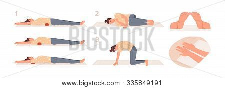Roller Exercise Flat Vector Illustrations Set. Girl Putting Roller Under The Shoulder Blades, Lower
