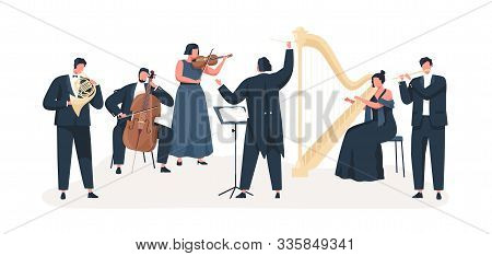 Symphony Orchestra Flat Vector Illustration. Professional Musicians Playing Musical Instruments On S