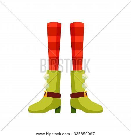 Female Xmas Elf Legs Flat Vector Illustration. Christmas Leprechaun, Pixie Cartoon Character. Santa