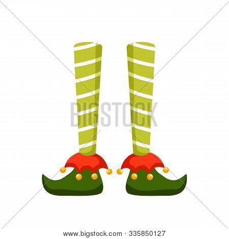 Christmas Elf Feet Flat Vector Illustration. Pixie, Santa Claus Helper, Elfin Cartoon Character. Xma