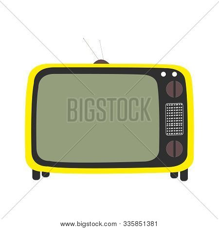 A Yellow And Black Tv Screen On White