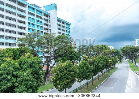 Aerial View, On A Cloudy Day, Of Public Housing Apartments In Singapore. Also Known As Hdb, These Ar