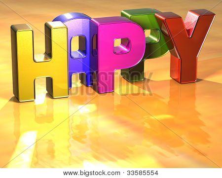 Word Happy On Yellow Background