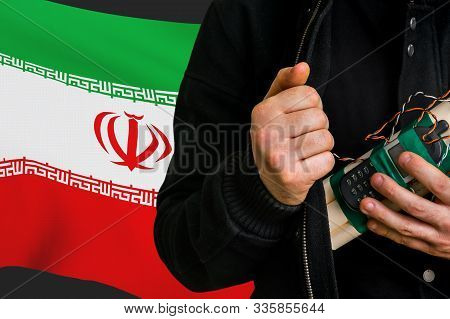 Terrorist Attack In Iran. Man With Suicide Bomb In Hand.