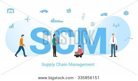 Scm Supply Chain Management Concept With Big Word Or Text And Team People With Modern Flat Style - V