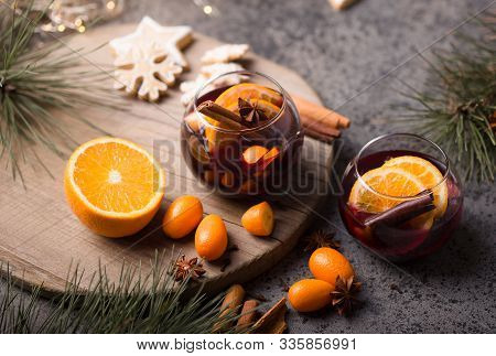 Festive Mulled Wine. Christmas Mulled Wine  In Circle Glasses Delicious Holiday Like Parties With Or