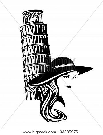 Young Beautiful Tourist Woman Wearing Wide Brimmed Hat With Pisa Tower In The Background - Italian S