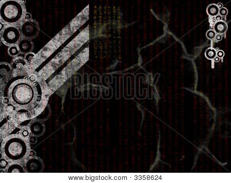 Industrial Black and White Background with Cracks and Cog Features poster