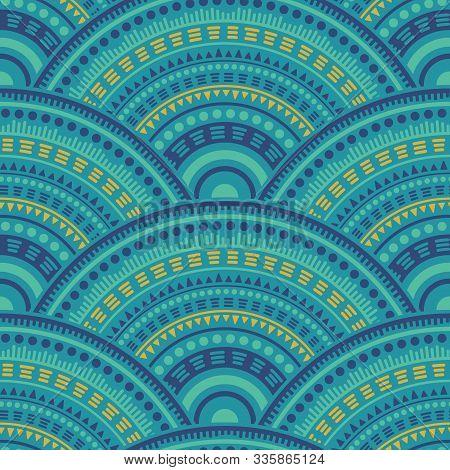 African Medallions Mosaic Tile Design Vector Seamless Pattern. Tribal Motifs Geo Repeating Illustrat