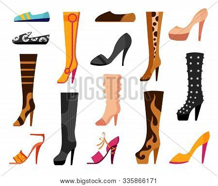 Set With Different Types Of Trend Womens Shoes Ballets, Sneakers, Boots, Flats, Pumps, Converse. Vec