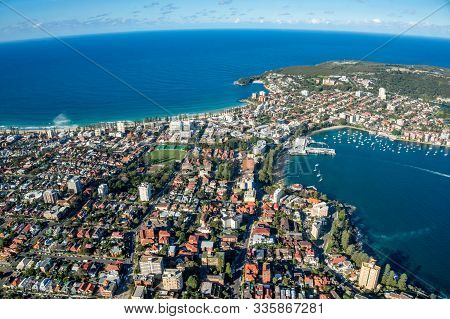 Residential Urban District With Ocean Beaches And Lagoon. Cityscape Aerial View Of Sydney Suburbs. R