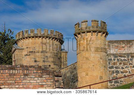 Tasmania, Australia - July 19, 2014: Towers Of Ruins Of Historic Heritage Building Of The Penitentia
