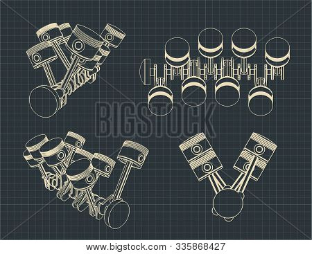 Stylized Vector Illustration Of The Drawings Of A Piston Crank Mechanism Of An Internal Combustion E