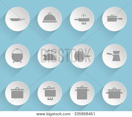 Dishes Web Icons On Light Paper Circles