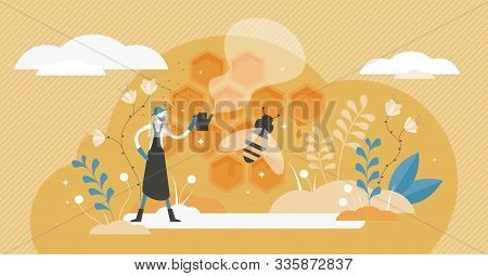 Beekeeping Vector Illustration. Bee Honey Occupation In Flat Tiny Persons Concept. Insect Nectar Col
