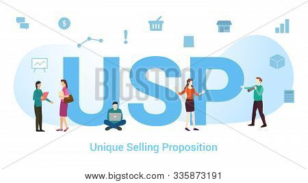 Usp Unique Selling Proposition Concept With Big Word Or Text And Team People With Modern Flat Style