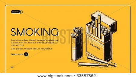 Smoking Activity Isometric Landing Page, Cigarettes Package And Lighter Set, Tobacco Nicotine Produc