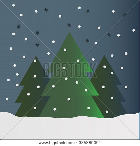 One Large Green Christmas Tree And Two Small At Night On Snow