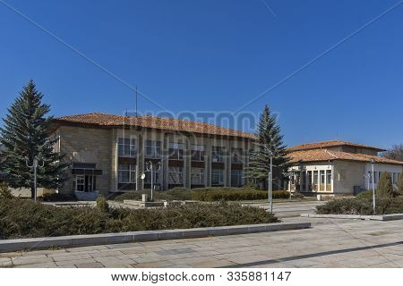 Kovachevtsy, Bulgaria - March 12, 2014: Typical Street And Building At The Center Of Village Of Kova