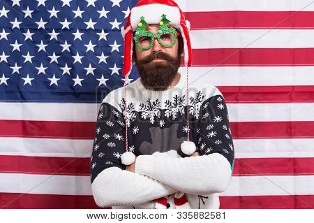 Celebrate With Confidence. Confident Hipster American Flag Background. Bearded Man Keep Arms Crossed