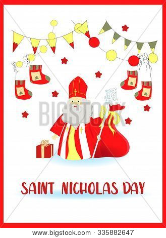 Flat Illustration Of Sinterklaas With Copy Greeting Card In Cartoon Style With A Traditional Dutch S
