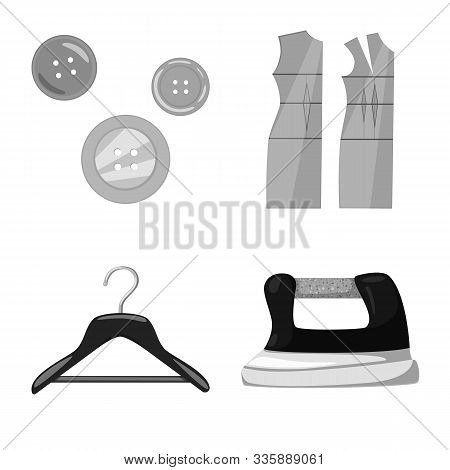 Vector Design Of Dressmaking And Textile Sign. Set Of Dressmaking And Handcraft Vector Icon For Stoc