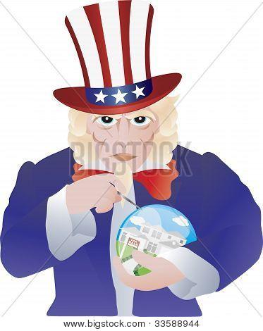 Uncle Sam Bursting The Real Estate Bubble Illustration