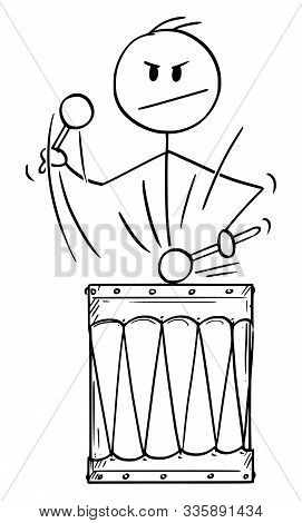 Vector Cartoon Stick Figure Drawing Conceptual Illustration Of Man, Drummer Or Businessman Playing M