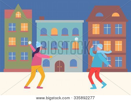 People On Winter Vacations Playing Games Vector. Man And Woman Having Fun With Snowball Fights. Kids