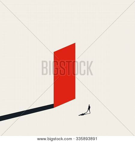 Business Challenge Vector Concept With Fearless Businessman Walking Towards Wall. Symbol Of Overcomi