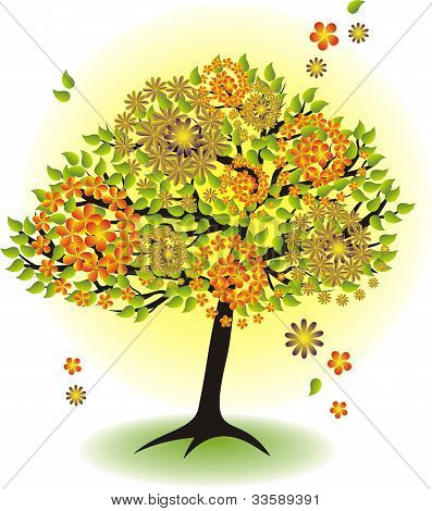 Season Tree For Summer With Leafs And Flowers