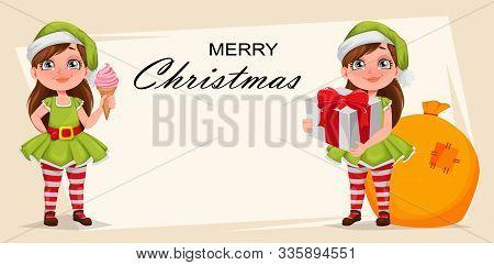 Merry Christmas Greeting Card. Cheerful Girl In Costume Of Elf. Kid In Santa Claus Helper Costume, S