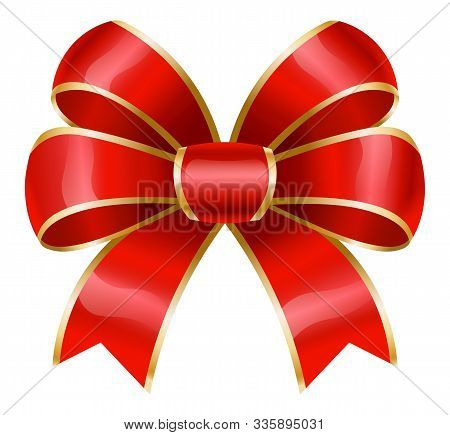 Red Ribbon Bow With Golden Borders. Isolated Decorative Element Used In Decoration Of Various Items.