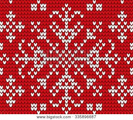 Snowflake Embroidered With Threads On Canvas Vector. Needlecraft With Cross Stitches Technique. Deco