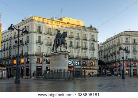 Madrid, Spain - January 22, 2018:  Amazing Sunrise Panorama Of Puerta Del Sol In Madrid, Spain
