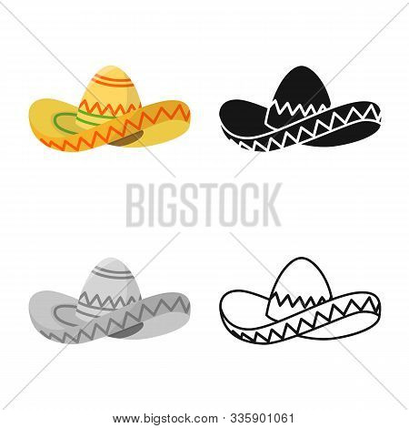 Isolated Object Of Sombrero And Hat Sign. Web Element Of Sombrero And Mexico Stock Symbol For Web.