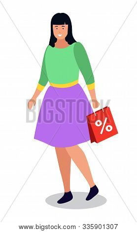 Shopping Woman, Isolated Character With Purchases. Female Personage Happy Of Sale And Discounts In S