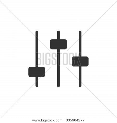 Control Volume Icon In Flat Style. Audio Adjusting Sign Vector Illustration On White Isolated Backgr