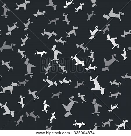 Grey Dog Pooping Icon Isolated Seamless Pattern On Black Background. Dog Goes To The Toilet. Dog Def